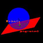 球面と平面の交線が作る円-i
